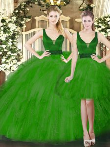 Flare Straps Sleeveless Quince Ball Gowns Floor Length Beading and Ruffles Green Tulle