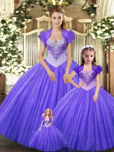 Elegant Floor Length Purple Quinceanera Dress Straps Sleeveless Lace Up