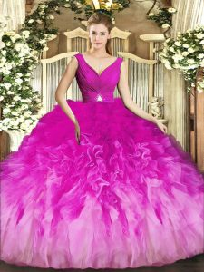 Ball Gowns Quince Ball Gowns Fuchsia V-neck Tulle Sleeveless Floor Length Backless