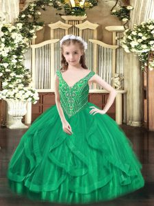 Sleeveless Lace Up Floor Length Beading and Ruffles Kids Pageant Dress