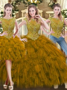 Affordable Brown Tulle Zipper Sweet 16 Quinceanera Dress Sleeveless Floor Length Beading and Ruffles