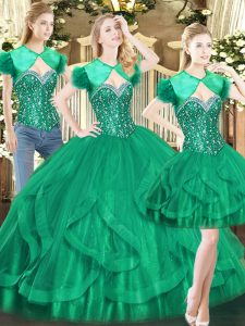 Discount Dark Green Ball Gowns Beading and Ruffles Sweet 16 Dress Lace Up Tulle Sleeveless Floor Length