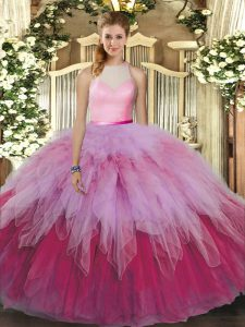 Enchanting High-neck Sleeveless Tulle Sweet 16 Dress Beading and Ruffles Backless