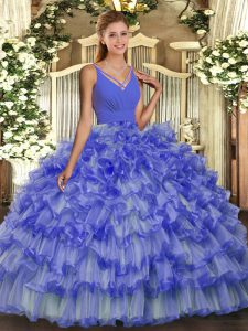 Blue Ball Gowns Organza V-neck Sleeveless Beading and Ruffled Layers Floor Length Backless Sweet 16 Quinceanera Dress