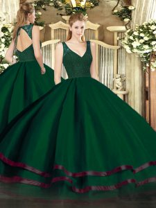 Flare Dark Green Zipper Quinceanera Gown Beading and Ruffled Layers Sleeveless Floor Length