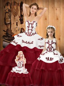 Excellent Sweep Train Ball Gowns Sweet 16 Dress Wine Red Strapless Organza Sleeveless Lace Up