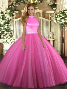 Halter Top Sleeveless Tulle Vestidos de Quinceanera Beading Backless