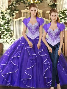 Floor Length Purple Quinceanera Dresses Tulle Sleeveless Beading and Ruffles