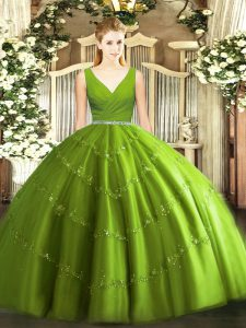 Olive Green Sleeveless Tulle Zipper Sweet 16 Dress for Military Ball and Sweet 16 and Quinceanera