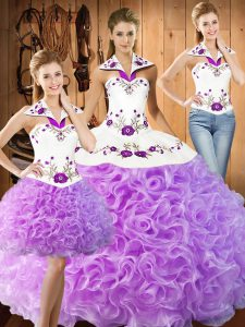 Three Pieces Sweet 16 Dresses Lilac Halter Top Fabric With Rolling Flowers Sleeveless Floor Length Lace Up