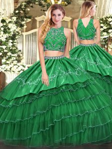 Trendy Green Sleeveless Floor Length Beading and Embroidery and Ruffled Layers Zipper Ball Gown Prom Dress