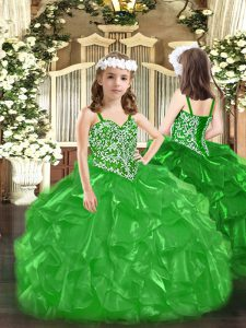 Sleeveless Floor Length Beading and Ruffles Lace Up Little Girls Pageant Gowns with Green