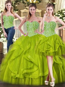 Exceptional Sleeveless Lace Up Floor Length Beading and Ruffles 15 Quinceanera Dress