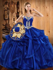 Custom Designed Royal Blue Sleeveless Embroidery and Ruffles Floor Length Quinceanera Gowns