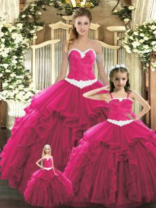Popular Red Organza Lace Up Sweetheart Sleeveless Floor Length Sweet 16 Quinceanera Dress Ruffles
