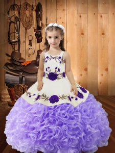 Hot Sale Lavender Lace Up Little Girls Pageant Gowns Embroidery and Ruffles Sleeveless Floor Length