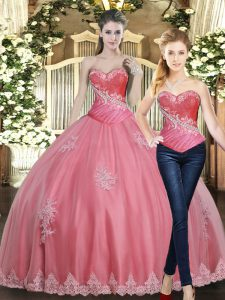 Admirable Sleeveless Floor Length Beading and Appliques Lace Up Quinceanera Gowns with Rose Pink