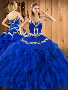 Floor Length Blue Quinceanera Dresses Satin and Organza Sleeveless Embroidery and Ruffles