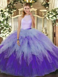 Fancy Multi-color Ball Gowns Tulle High-neck Sleeveless Ruffles Floor Length Backless Quince Ball Gowns
