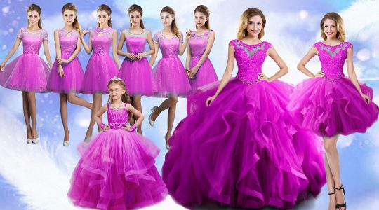 Fuchsia Quinceanera Dress Military Ball and Sweet 16 and Quinceanera with Beading and Ruffles Scoop Sleeveless Lace Up