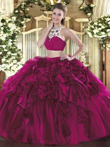 Charming Fuchsia Two Pieces Beading and Ruffles Sweet 16 Dress Backless Tulle Sleeveless Floor Length
