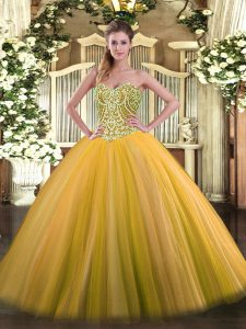 Fine Gold Ball Gowns Beading 15 Quinceanera Dress Lace Up Tulle Sleeveless Floor Length