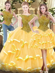 Dynamic Sleeveless Floor Length Beading and Ruffled Layers Zipper Sweet 16 Dresses with Gold