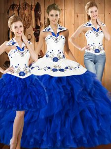 Romantic Blue And White Halter Top Lace Up Embroidery 15th Birthday Dress Sleeveless