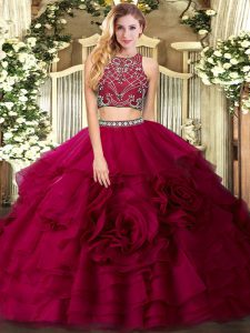 Low Price Tulle Sleeveless Floor Length Quinceanera Dresses and Beading and Ruffled Layers