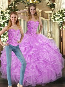 Lilac Lace Up Vestidos de Quinceanera Beading and Ruffles Sleeveless Floor Length