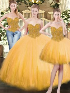 Beauteous Gold Tulle Lace Up Sweetheart Sleeveless Floor Length Sweet 16 Dress Beading