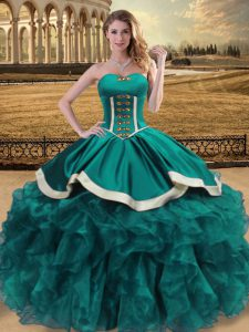 Sweetheart Sleeveless Quinceanera Dress Floor Length Beading and Ruffles Teal Organza