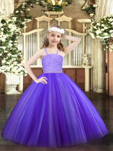 Lavender Pageant Dress Party and Quinceanera with Beading and Lace Straps Sleeveless Zipper