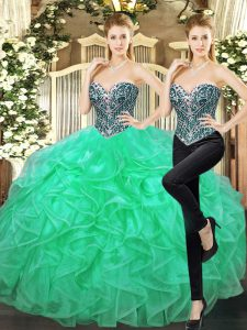 Graceful Sweetheart Sleeveless Tulle Ball Gown Prom Dress Beading and Ruffles Lace Up