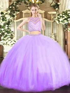 Noble Lavender Two Pieces Beading Quinceanera Dress Zipper Tulle Sleeveless Floor Length