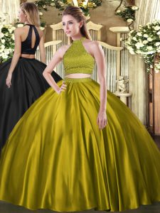Brown Quince Ball Gowns Military Ball and Sweet 16 and Quinceanera with Beading Halter Top Sleeveless Backless