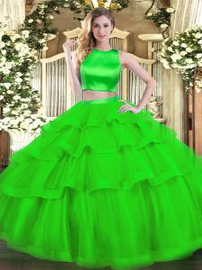 Vintage Green Quinceanera Dress Military Ball and Sweet 16 and Quinceanera with Ruffled Layers High-neck Sleeveless Criss Cross