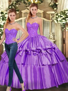 Eggplant Purple Organza Lace Up Quinceanera Dress Sleeveless Floor Length Beading and Ruffled Layers