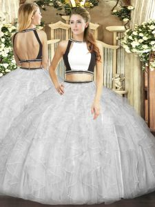 Floor Length Backless Quinceanera Gowns White for Military Ball and Sweet 16 and Quinceanera with Ruffles
