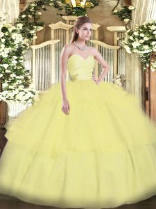 Light Yellow Ball Gowns Beading and Ruffled Layers 15 Quinceanera Dress Lace Up Organza Sleeveless Floor Length