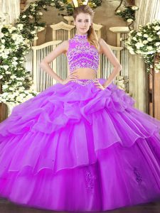 Eggplant Purple Ball Gowns High-neck Sleeveless Tulle Floor Length Backless Beading and Ruffles and Pick Ups Quinceanera Gowns