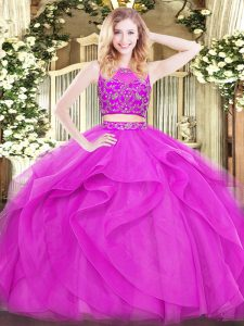 Flirting Beading and Ruffles Quince Ball Gowns Fuchsia Zipper Sleeveless Floor Length