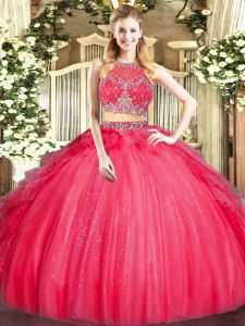 Adorable Scoop Sleeveless Zipper 15 Quinceanera Dress Red Tulle