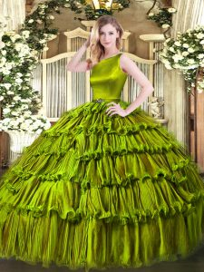 Scoop Sleeveless Clasp Handle Ball Gown Prom Dress Olive Green Organza