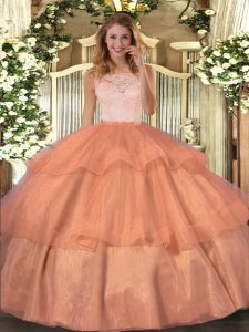 Dramatic Organza Scoop Sleeveless Clasp Handle Lace and Ruffled Layers Quince Ball Gowns in Orange