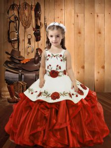 Red Ball Gowns Ruffles Pageant Dress for Girls Lace Up Organza Sleeveless Floor Length