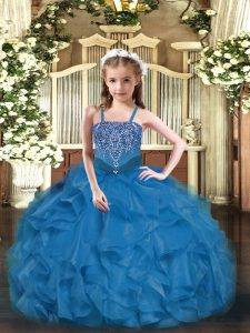Blue Sleeveless Organza Lace Up Little Girl Pageant Gowns for Party and Quinceanera