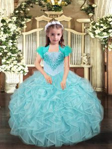 Fantastic Aqua Blue and Apple Green Lace Up Straps Beading and Ruffles Little Girls Pageant Dress Wholesale Organza Sleeveless
