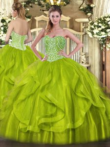 Modest Yellow Green Lace Up Vestidos de Quinceanera Ruffles Sleeveless Floor Length