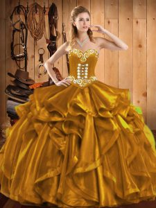 Gold Lace Up Sweetheart Embroidery and Ruffles Sweet 16 Quinceanera Dress Organza Sleeveless